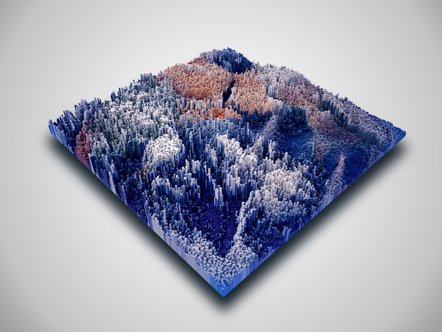 3d isometric cube landscape with extruding blocks