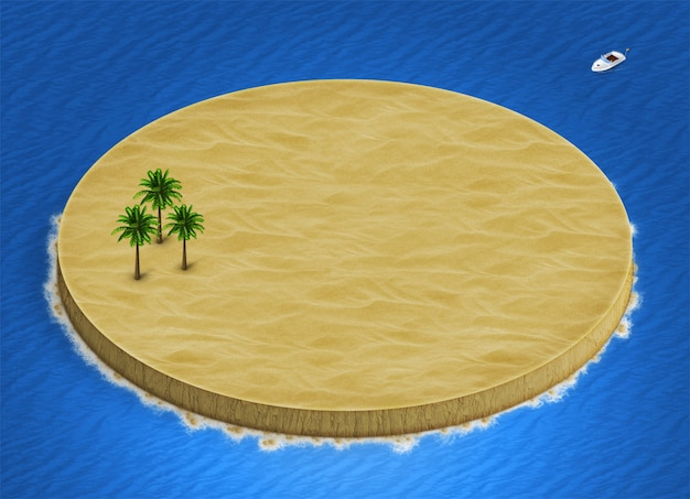 3d isometric desert island landscape with palm trees on ocean background