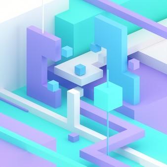 3dアイソメイラストレンダリングキューブ