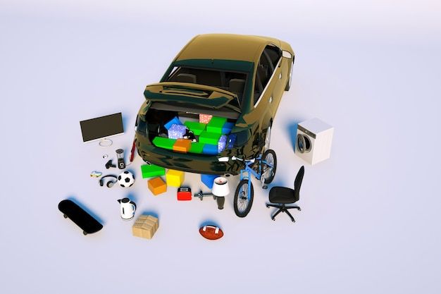 3d isometric model of an open trunk with things lot of things in a brown passenger car