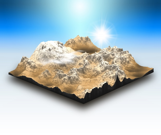 3d isometric style landscape block with mountain scene