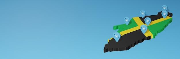 3d 렌더링에서 인포 그래픽을위한 자메이카의 소셜 미디어 및 트위터 사용