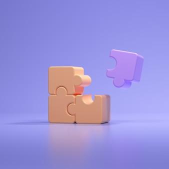 Кусочки головоломки 3d на розовом фоне. решение проблем, бизнес-концепция. 3d визуализация иллюстрации