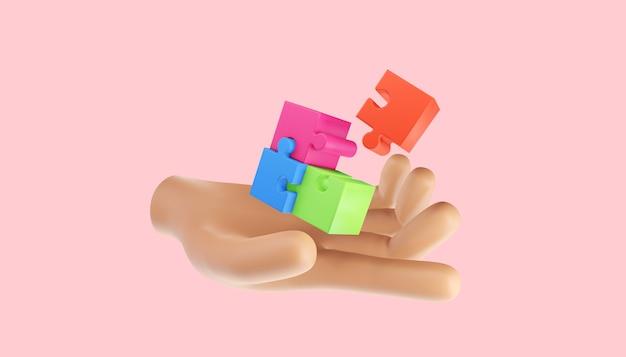 Части пазла 3d. решение проблем, бизнес-концепция. 3d иллюстрация