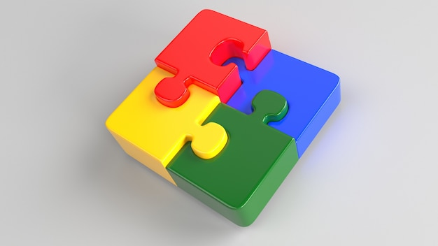 3d jigsaw puzzle with four pieces