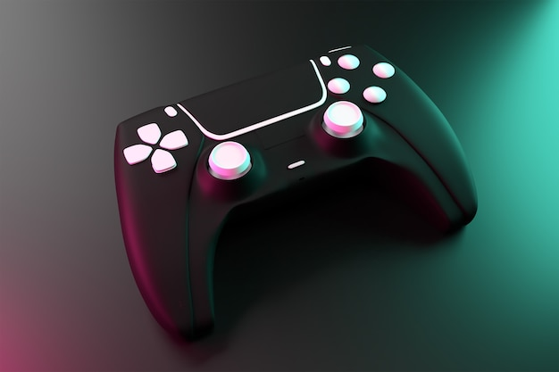 3d joystick game controller with dark surface concept rendered