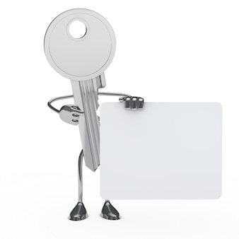 3d key posing with a blank placard