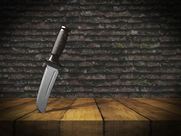 3d knife stuck in wooden table against grunge brick wall