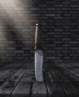 3d knife stuck in a wooden table in a grunge brick room