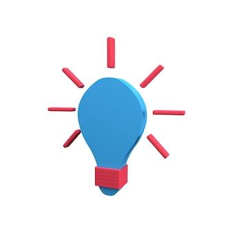3d電球のアイコン。分離された3dレンダリングランプアイコン。電球付きの3dアイデアアイコン