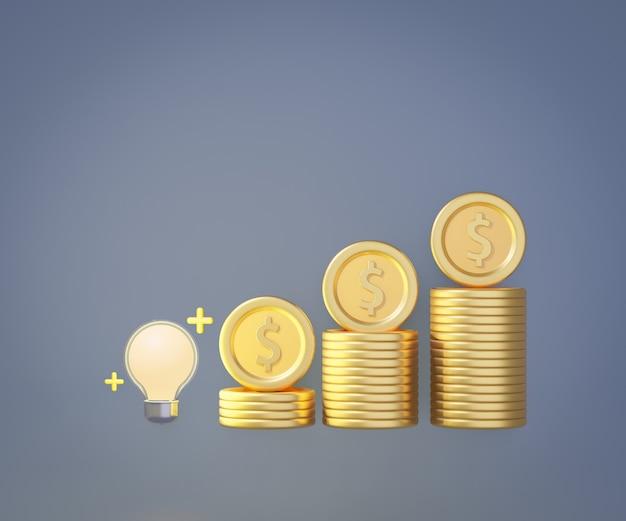 スタックゴールドコイングラフ付きの3d電球。創造的なアイデアのコンセプト。 3dイラストのレンダリング。