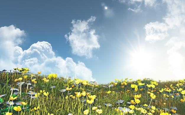 ミツバチとデイジーの3d風景