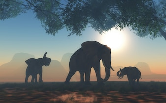 3D landscape with herd of elephants