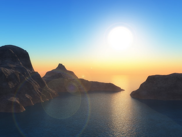 3d landscape with mountains in ocean at sunset