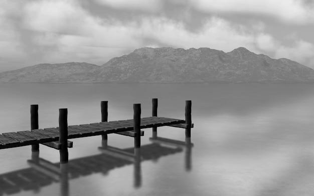 3d визуализации черного и белого landscapw с пристанью