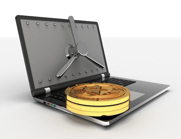 3d-ноутбук и биткойны. 3d визуализированная иллюстрация