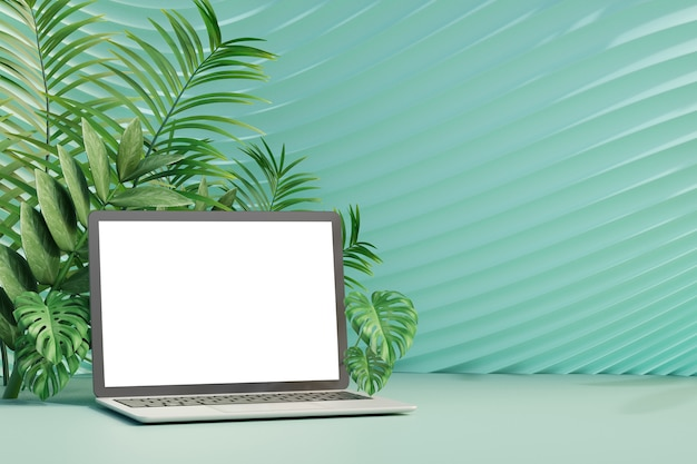 3d laptop computer on pastel green curve wall with green olive leaf tree background. 3d illustration rendering.