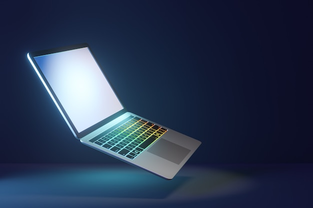 3d laptop computer with bright display screen and led keyboard on blue dark background. 3d illustration rendering.