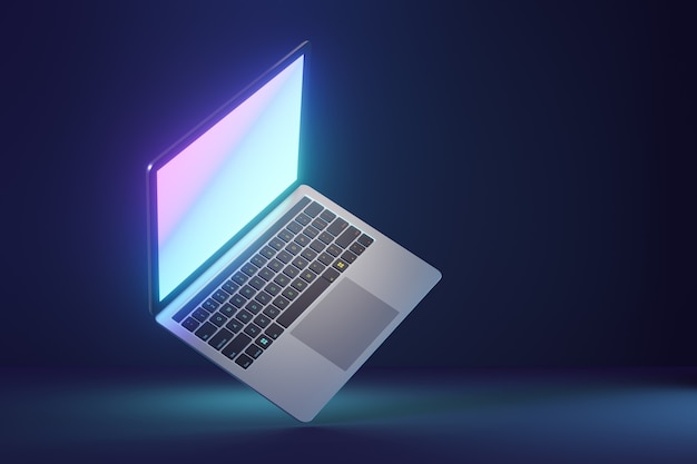 3d laptop computer with glow display screen on blue dark background. 3d illustration rendering.