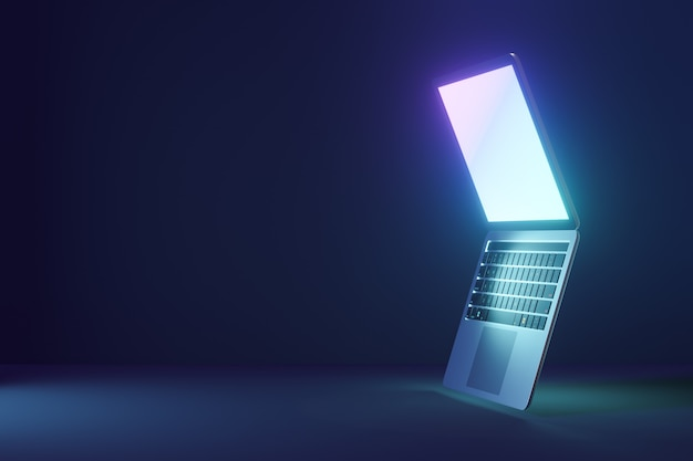 3d laptop computer with open display screen on blue dark background. 3d illustration rendering.