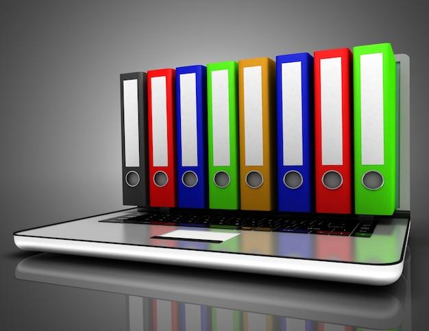 3d laptop folder concept. 3d illustration
