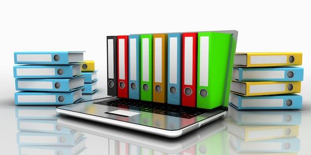 3d laptop folder concept