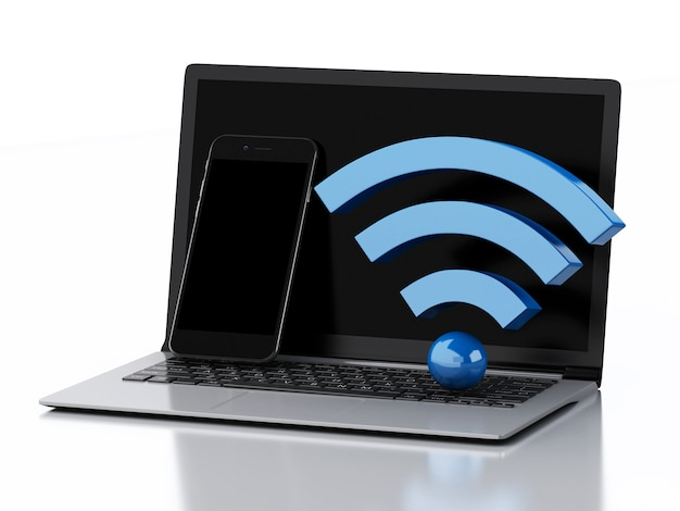 3d laptop pc, smartphone and wifi icon.