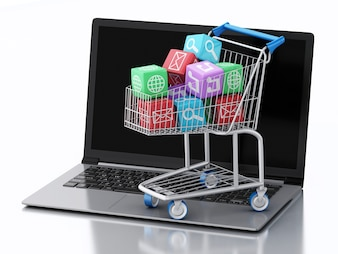 3d Laptop pc with Apps icons in shopping cart.