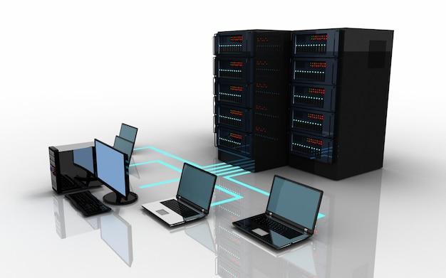 3d 노트북 서버 연결 개념. 3d 일러스트