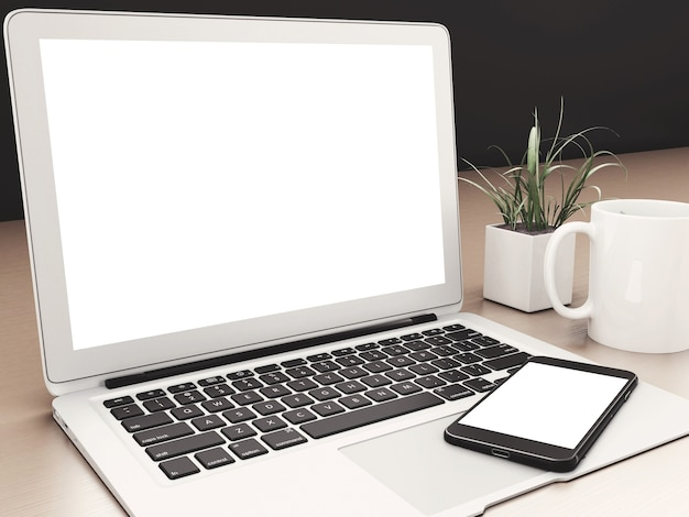 3d laptop and smartphone with white screens. mockup