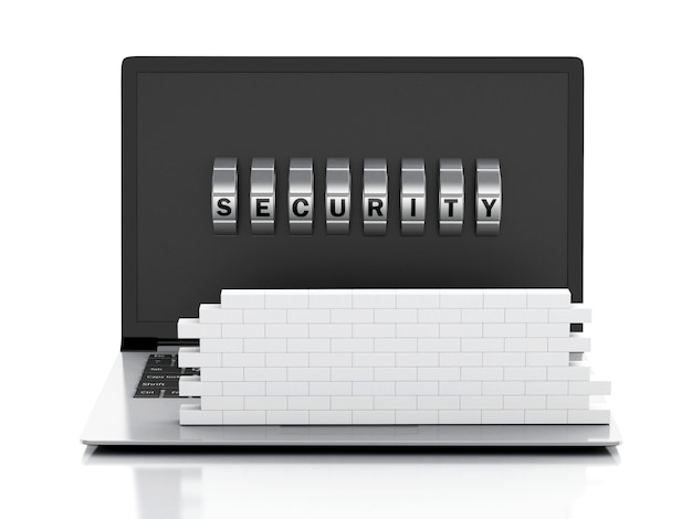 3d laptop with brick wall and combination lock.