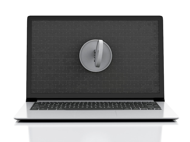 3d laptop with brick wall and key.