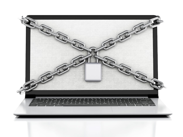 3d laptop with brick wall, lock and chain.