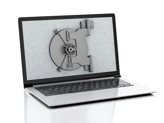 3d laptop with brick wall and safe door.