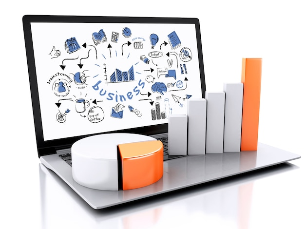 3d laptop with business sketch an charts