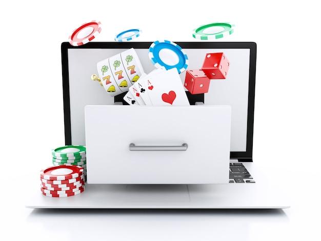 3d-ноутбук с игровым автоматом, рулеткой, чипами, покерными карточками и игральными костями.