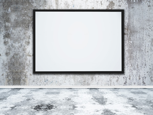 3d large blank picture frame in a grunge concrete interior