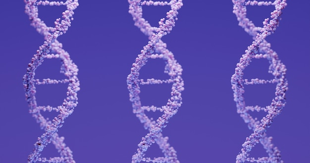 3d lavender dna structure on a purple background. scientific medical background and healthcare technology for presentation, cover or advertisement.