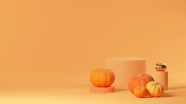 3d макет сцены хэллоуина с подиумом продукта на оранжевом фоне