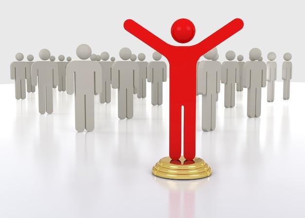3d leader of business team group. leadership teamwork concept.