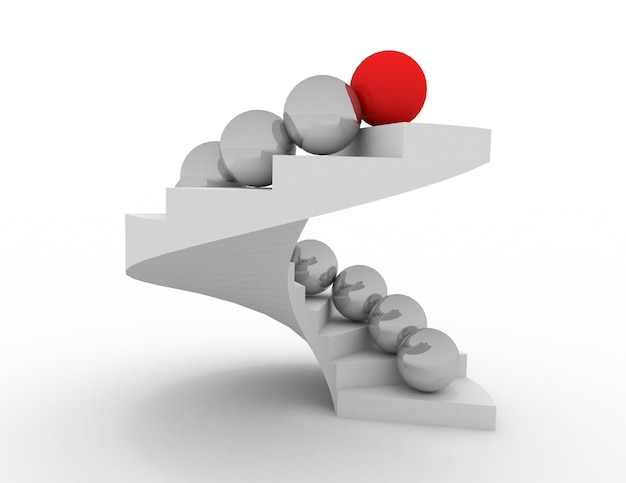3d концепция лидера. шары на лестнице