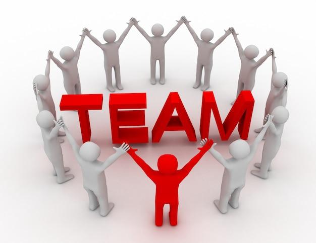 3d лидерство и концепция команды.