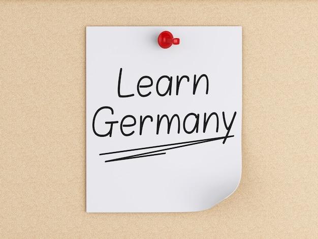 3d 독일, 코르크를 통해 포스트잇에 단어를 배웁니다.
