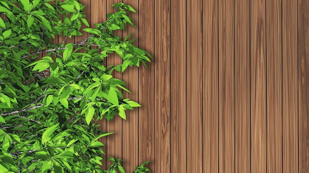 3d leaves against a wooden texture