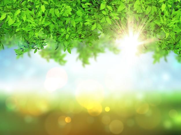 Foglie 3d su uno sfondo sfocato con luci bokeh