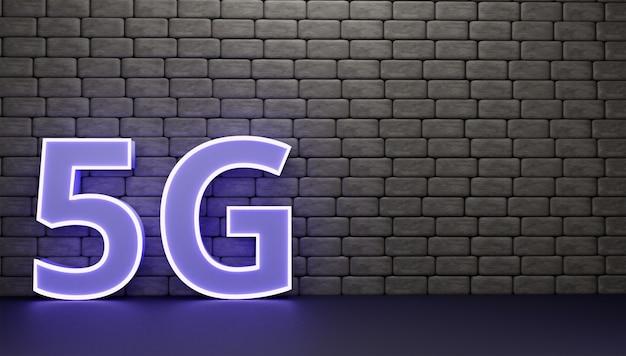 벽 3d 렌더링 및 일러스트레이션에 3d 문자 5g
