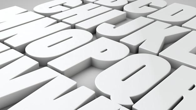 白い色の3d文字