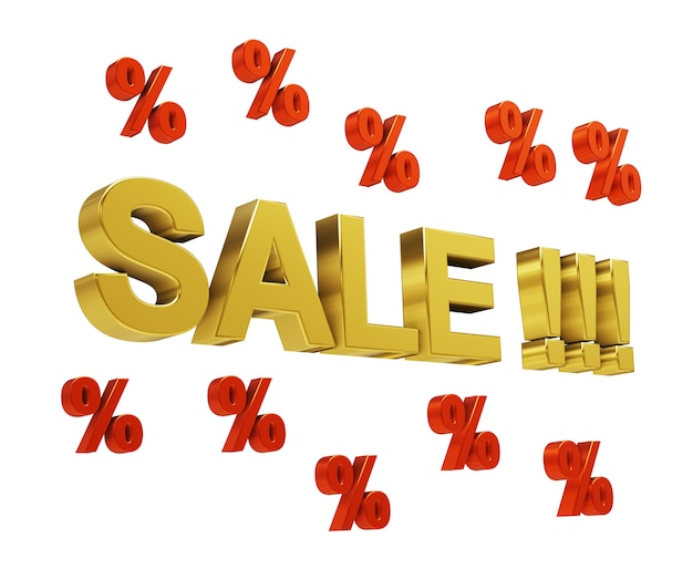 3d letters sale with percent isolated on white. 3d illustration