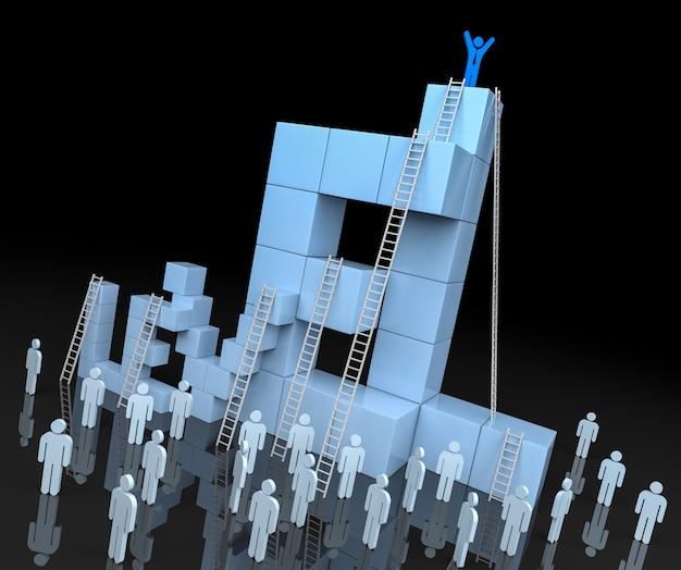 Блок уровня 3d с концепцией прогресса лидерства. 3d рендеринг