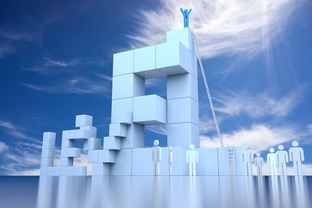 리더십 진행 개념이 있는 3d 레벨 블록. 3d 렌더링